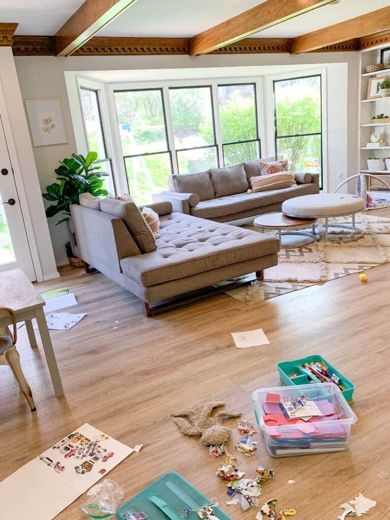 messy living room for kids