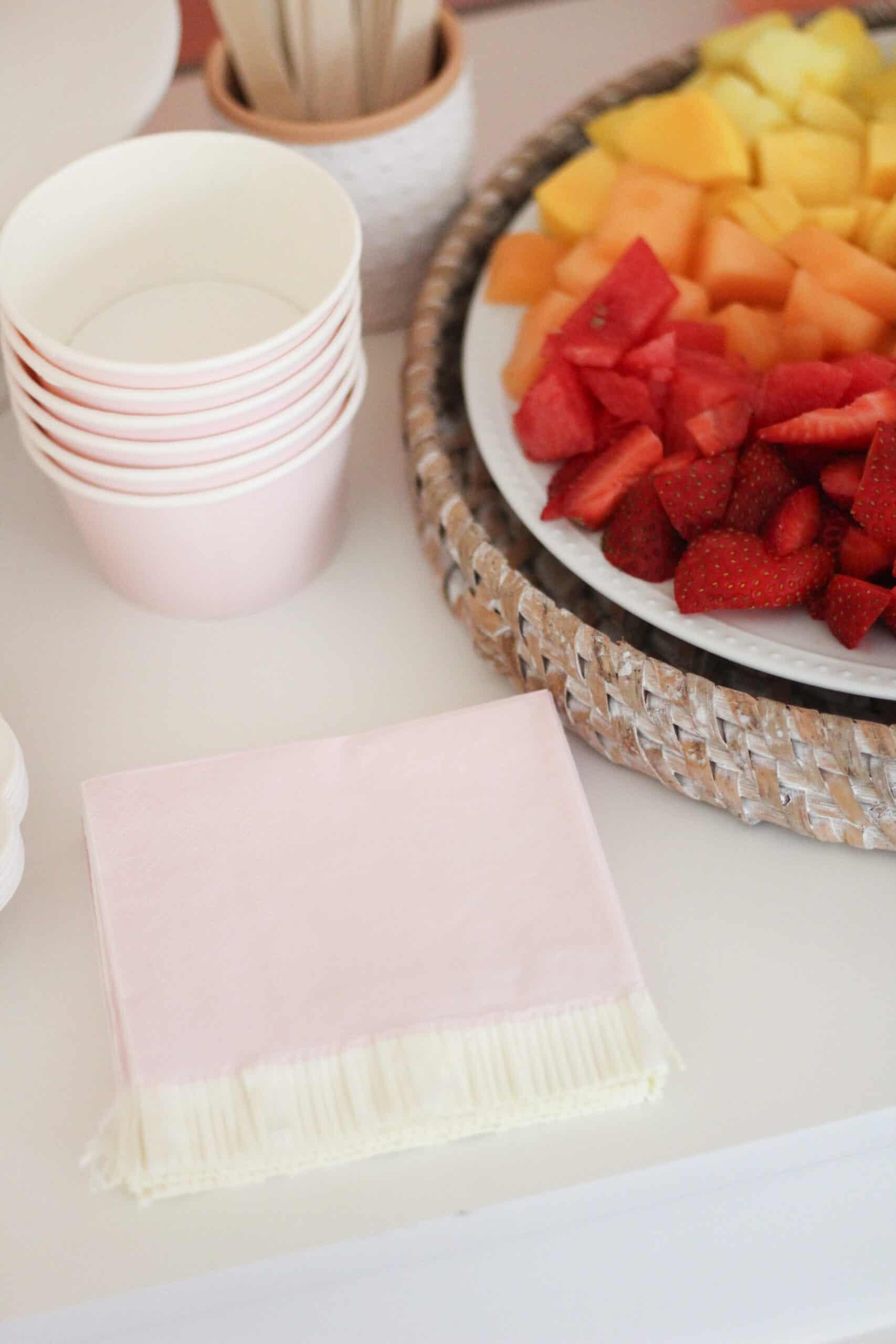 pink fringe paper napkins