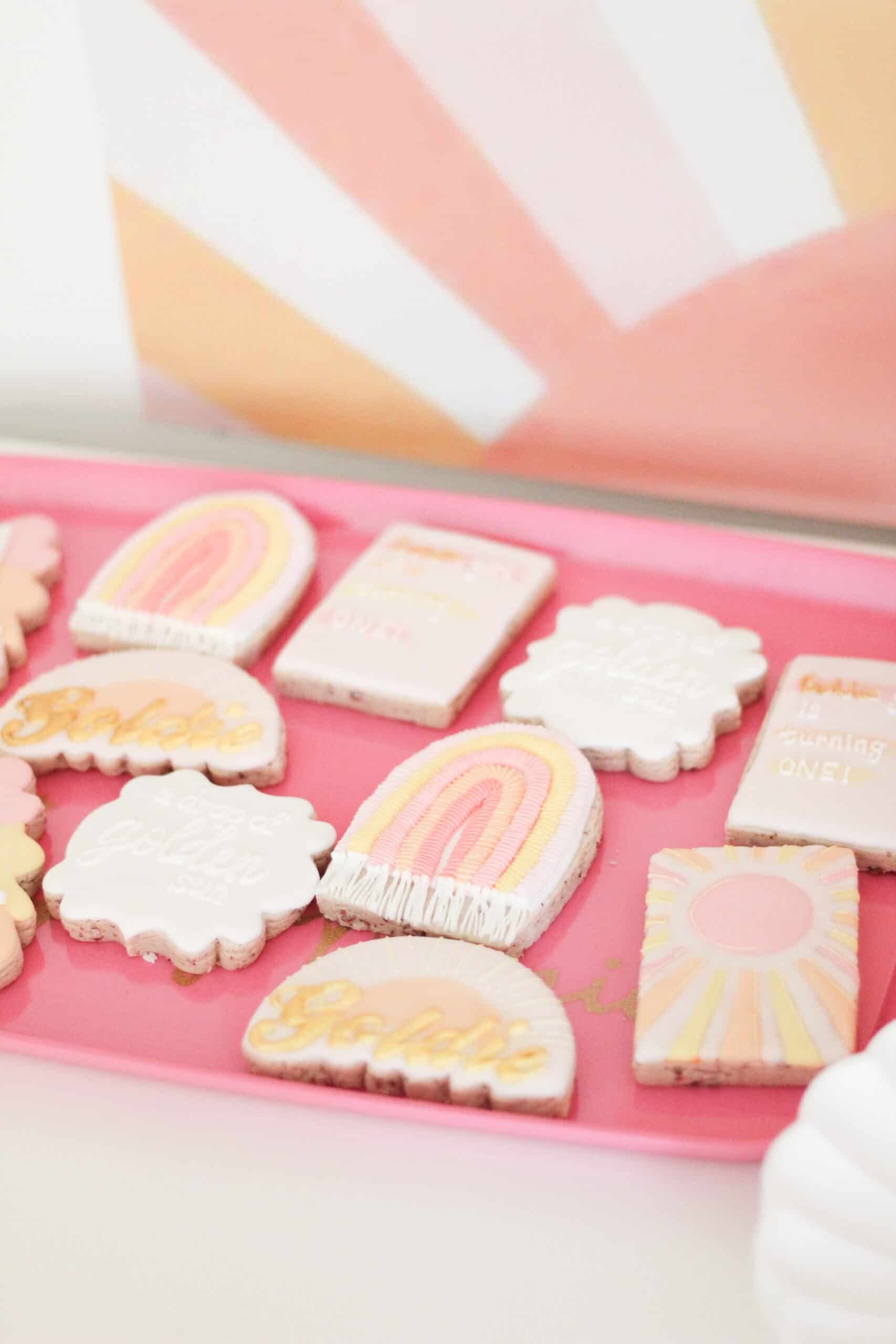pink and yellow cookies for party