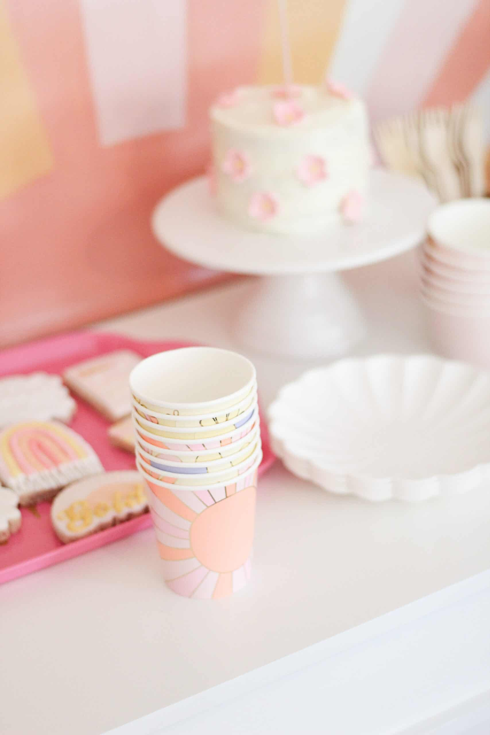 Retro paper cups at birthday party