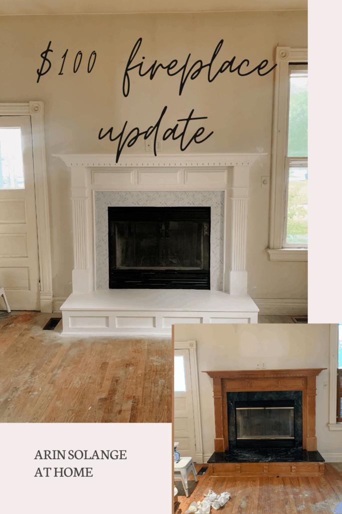 $100 fireplace update with peel and stick backsplash