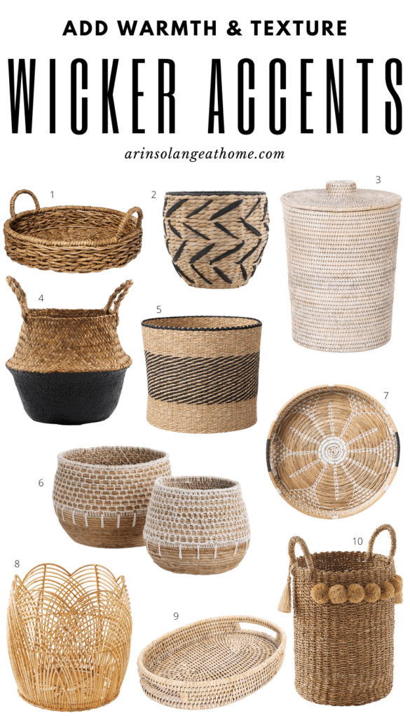 wicker baskets and trays for fall