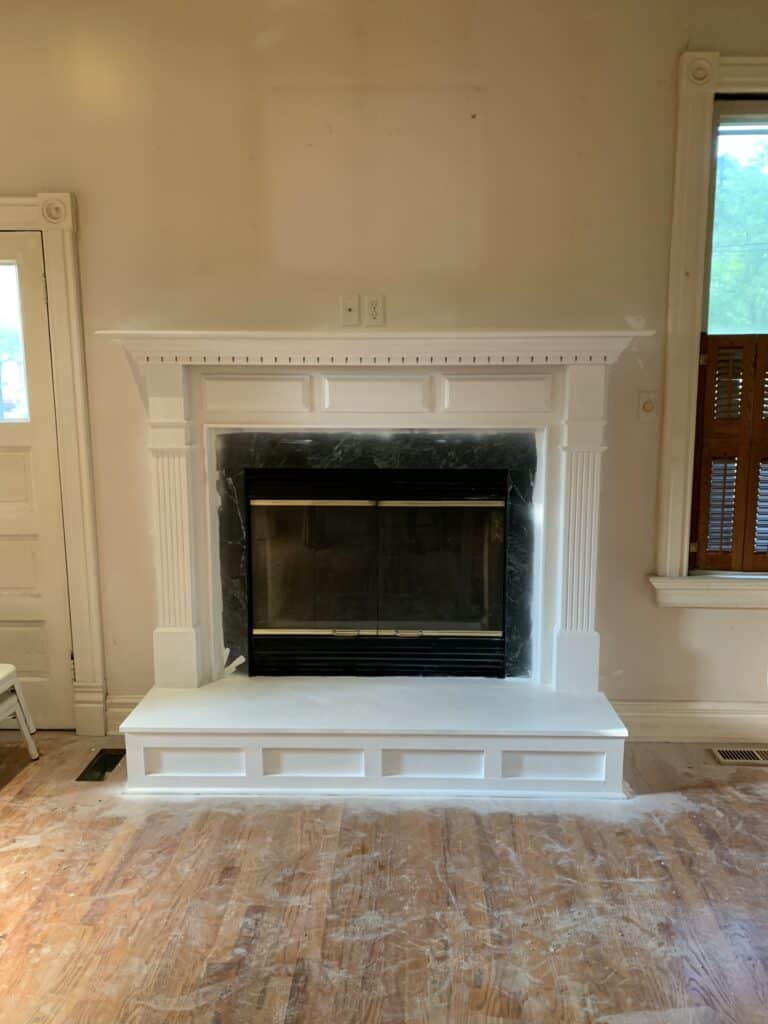 fireplace painted white