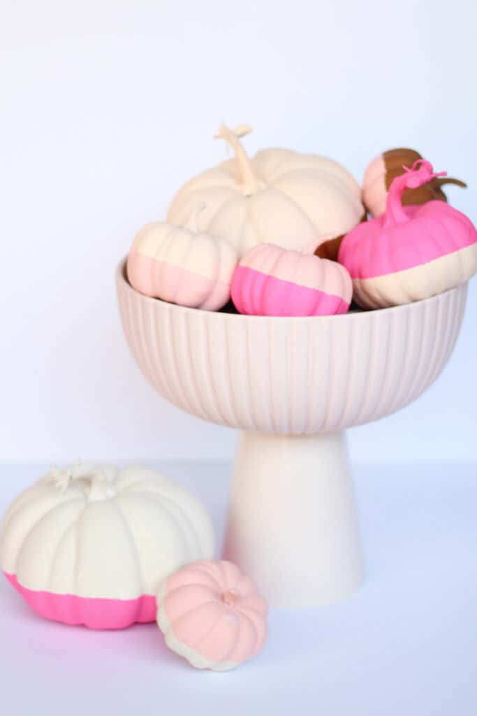 pink bowl with pink color block pumpkins