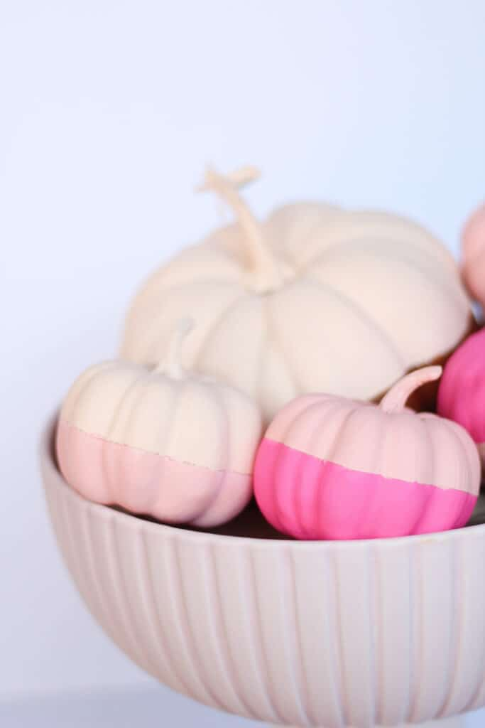 pink bowl filled with pumpkins