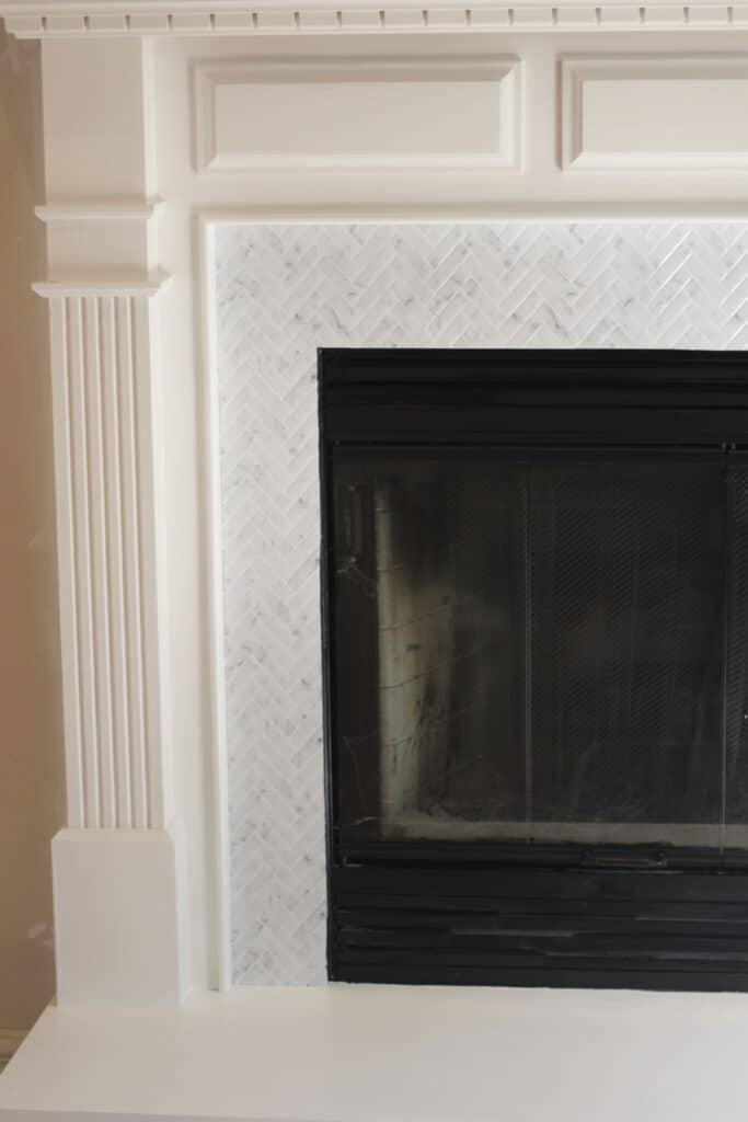 peel and stick backsplash on fireplace