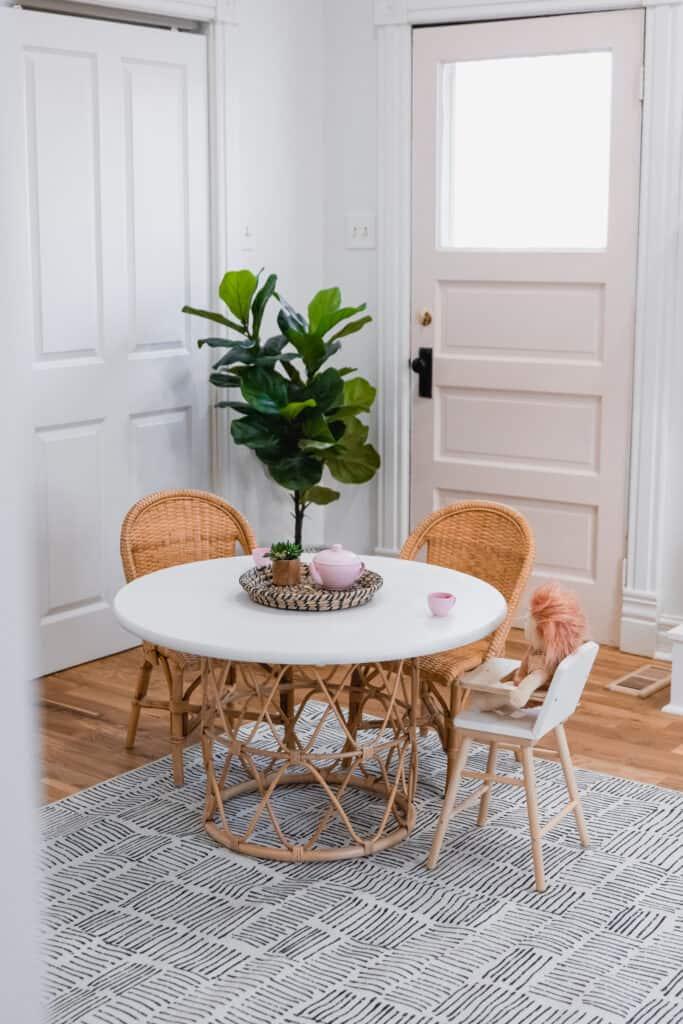 diy rattan kids table by pink door