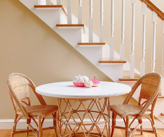 DIY Rattan kids table and chairs