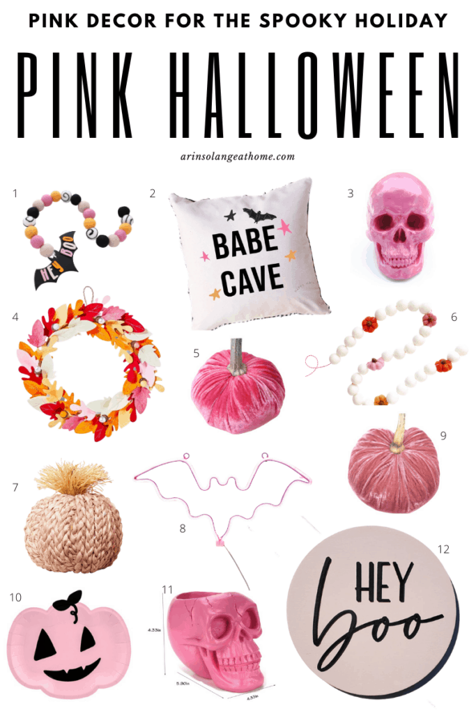 a round up of pink halloween decor