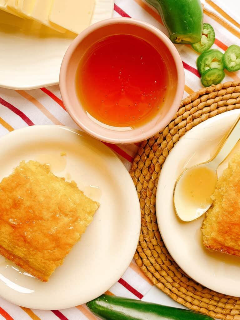 Cornbread with honey