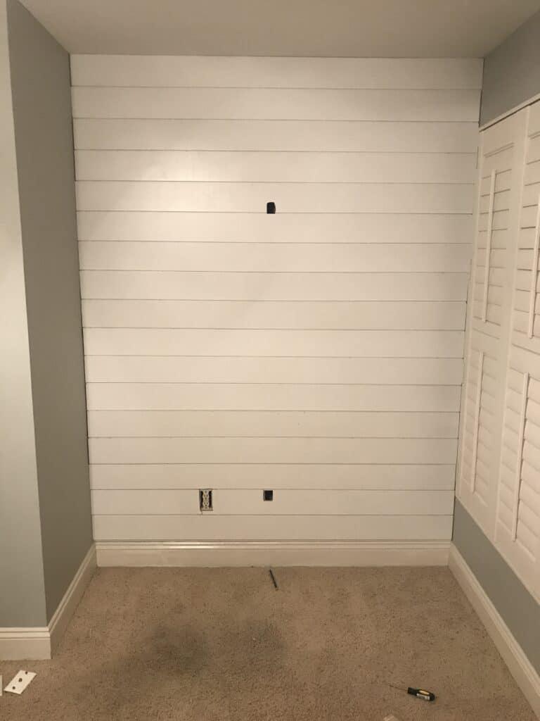 shiplap nook in bedroom
