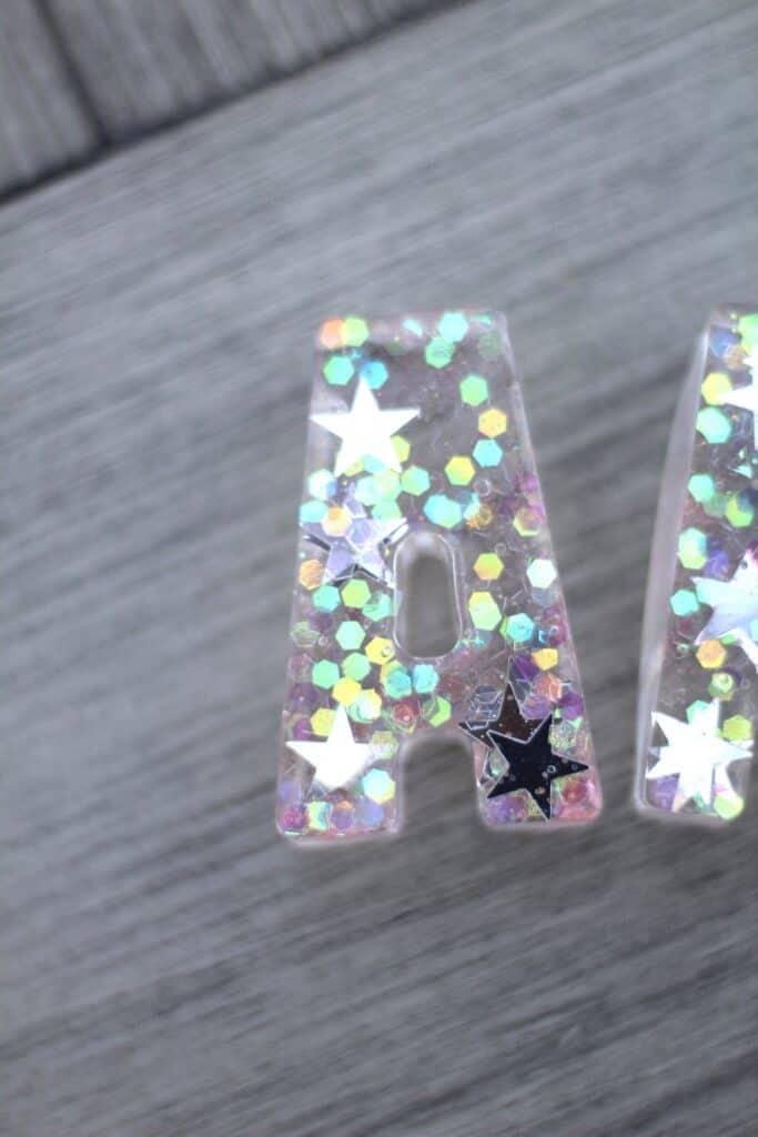 DIY resin glitter letter