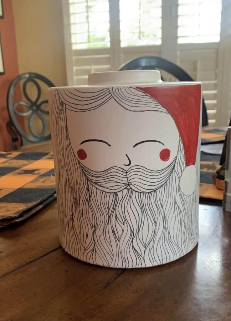 diy Santa face canister