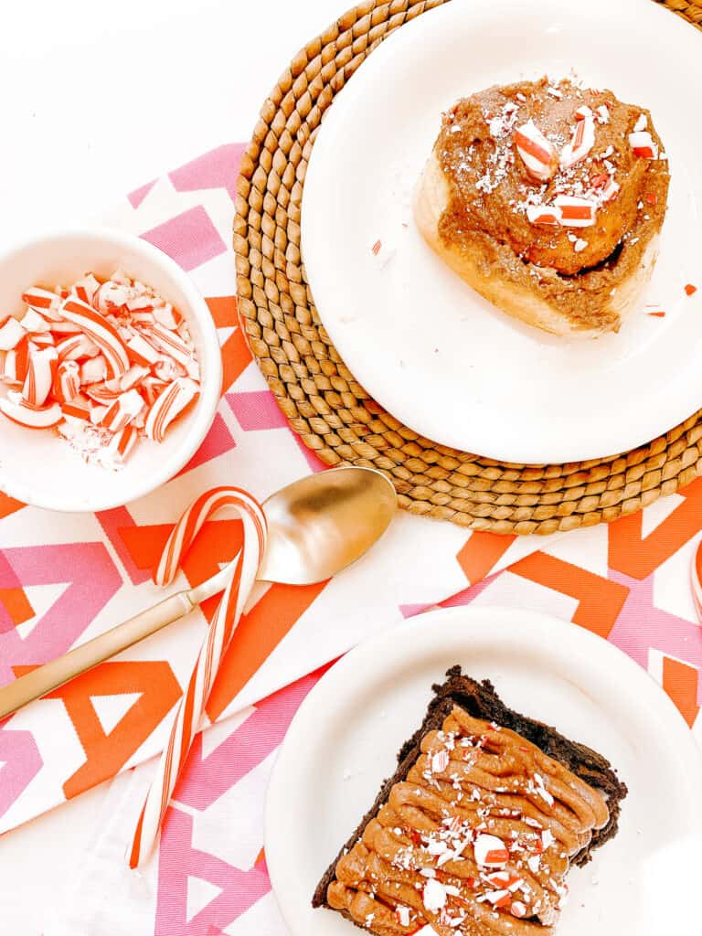 peppermint brownies and cinnamon rolls