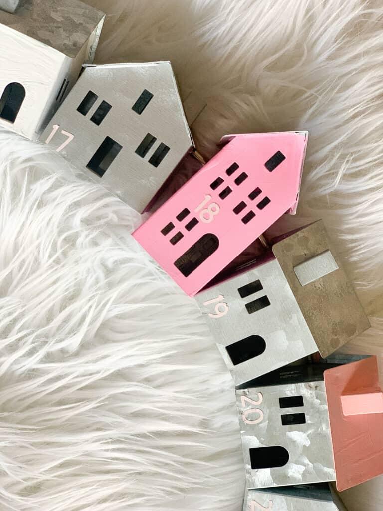 tiny pink galvanized houses