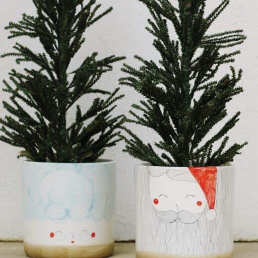DIY Santa and Mrs. Claus planters