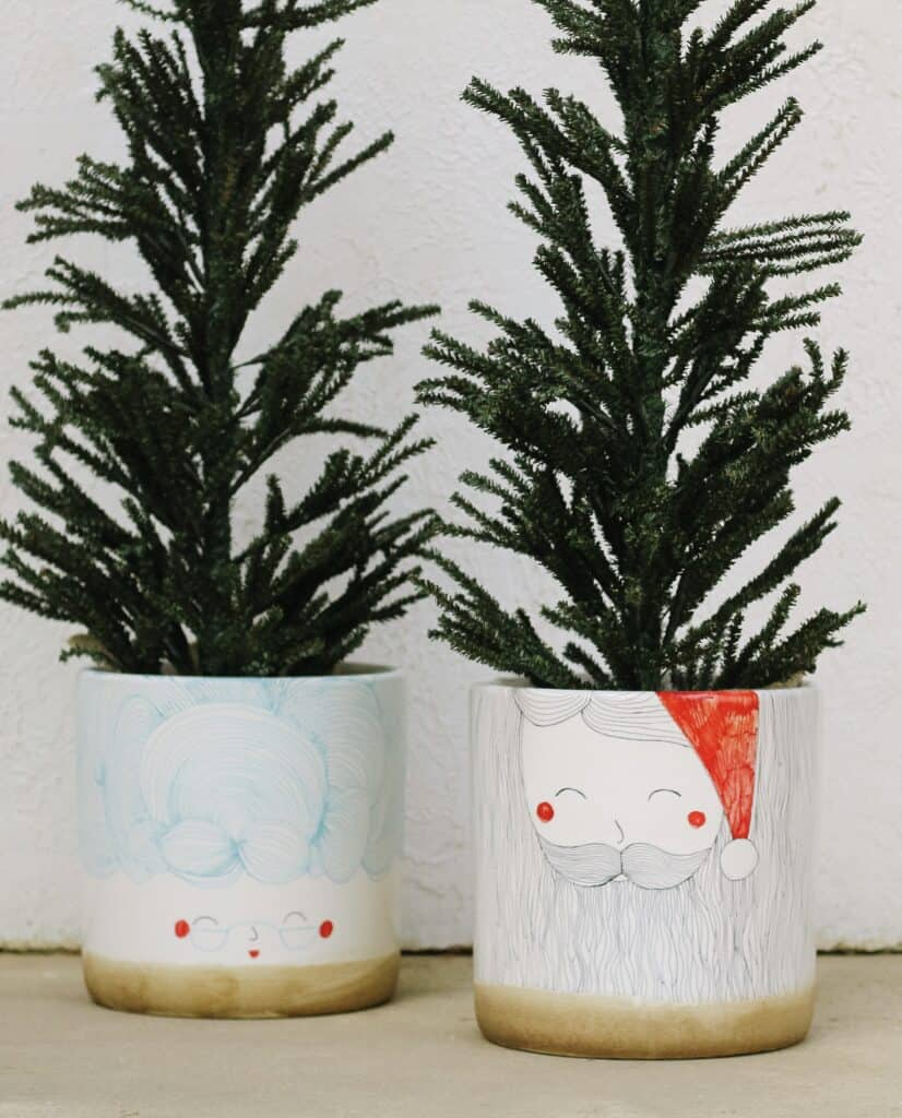DIY Santa and Mrs. Claus planters