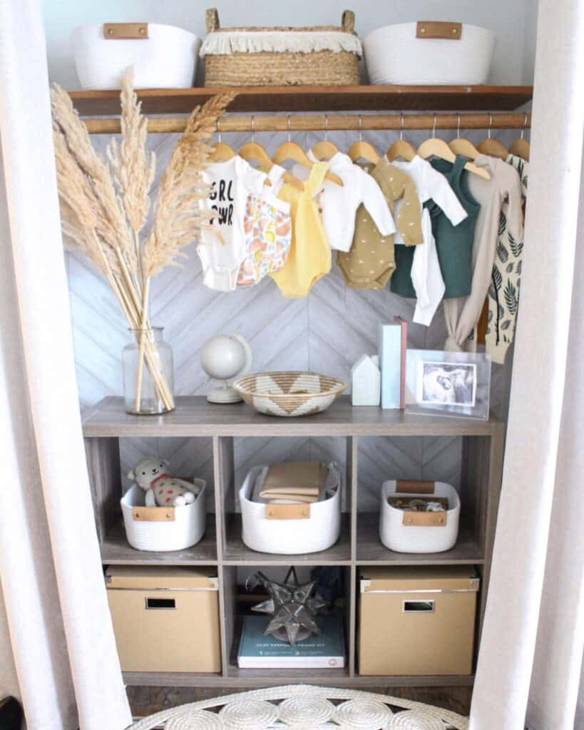 exposed baby closet space