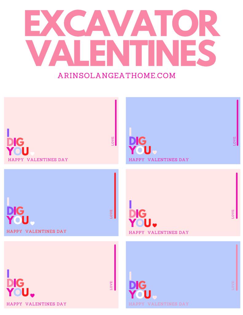 free printable Excavator Valentines