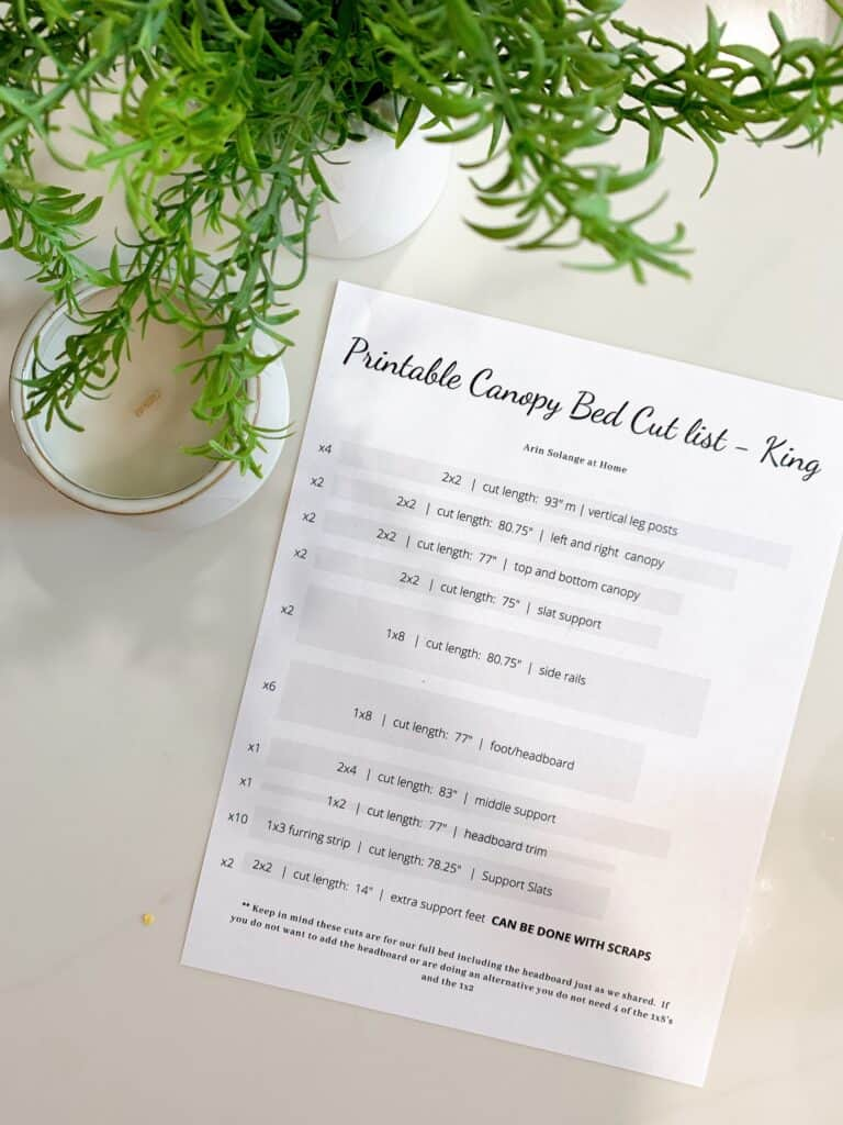 Cut list for canopy bed