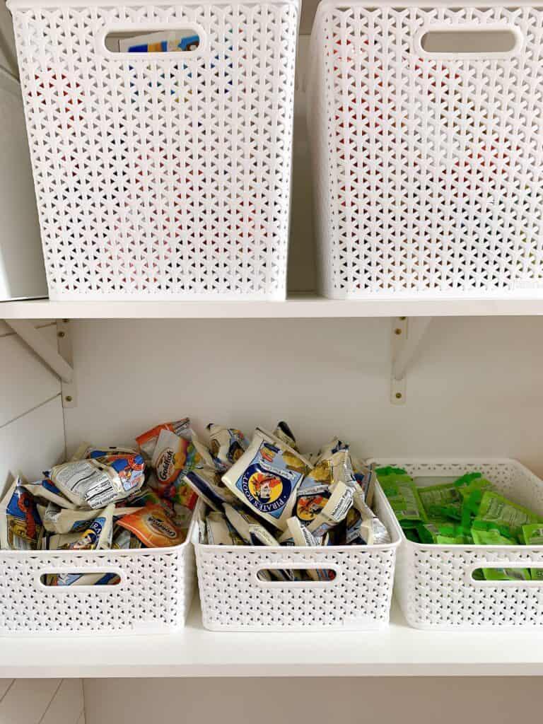 kids snacks in pantry