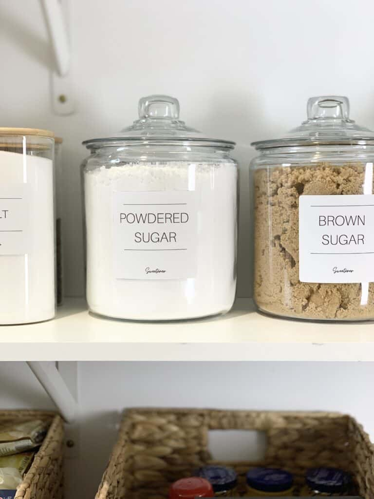 Pantry Shelves with canisters labeled