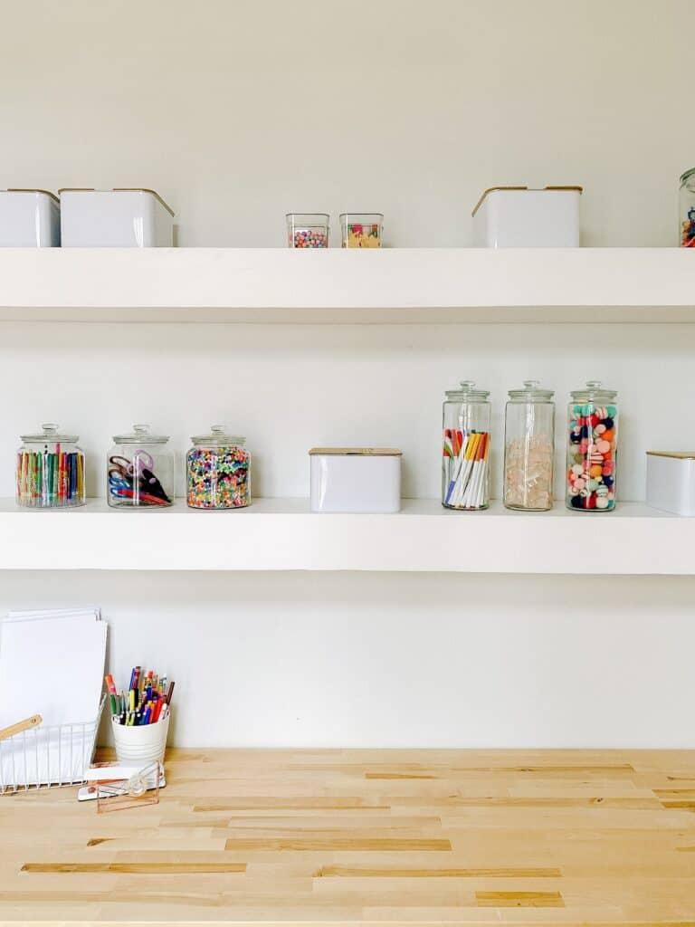 Organized Craft room shelves