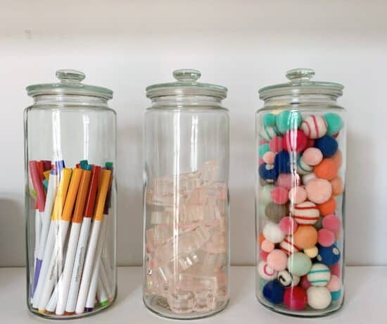 glass jars organized