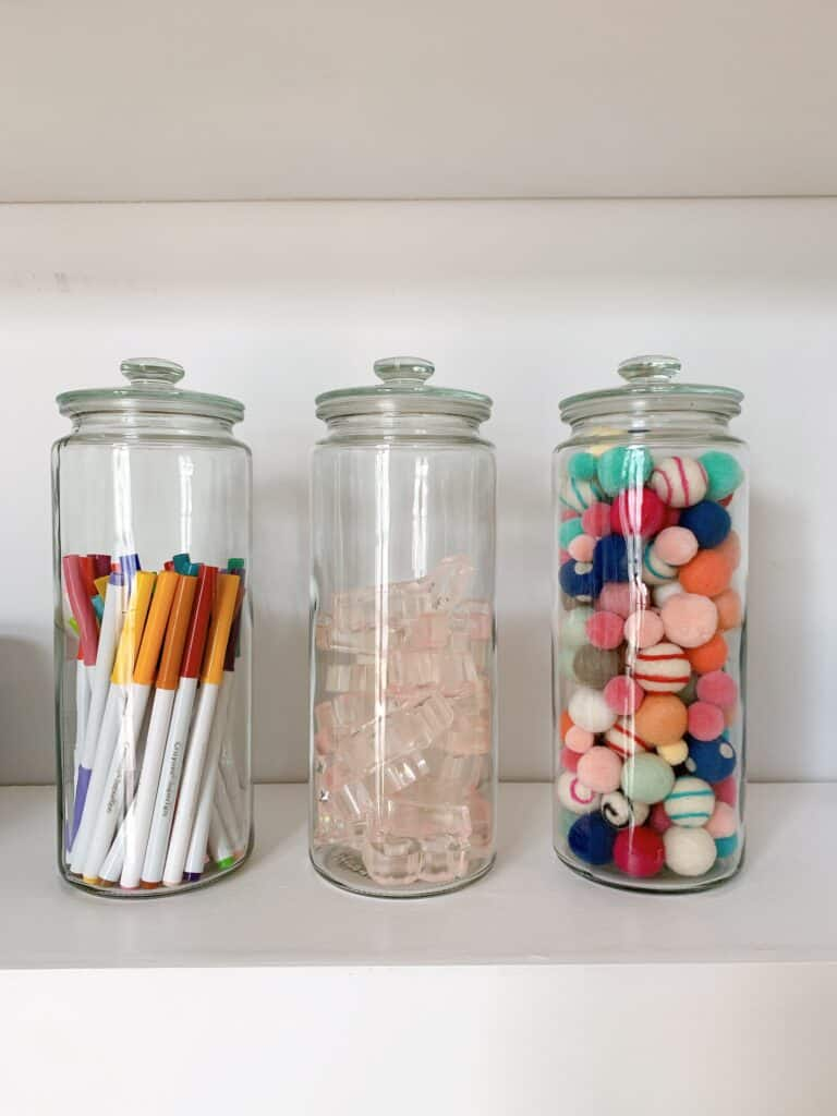 glass jars organized