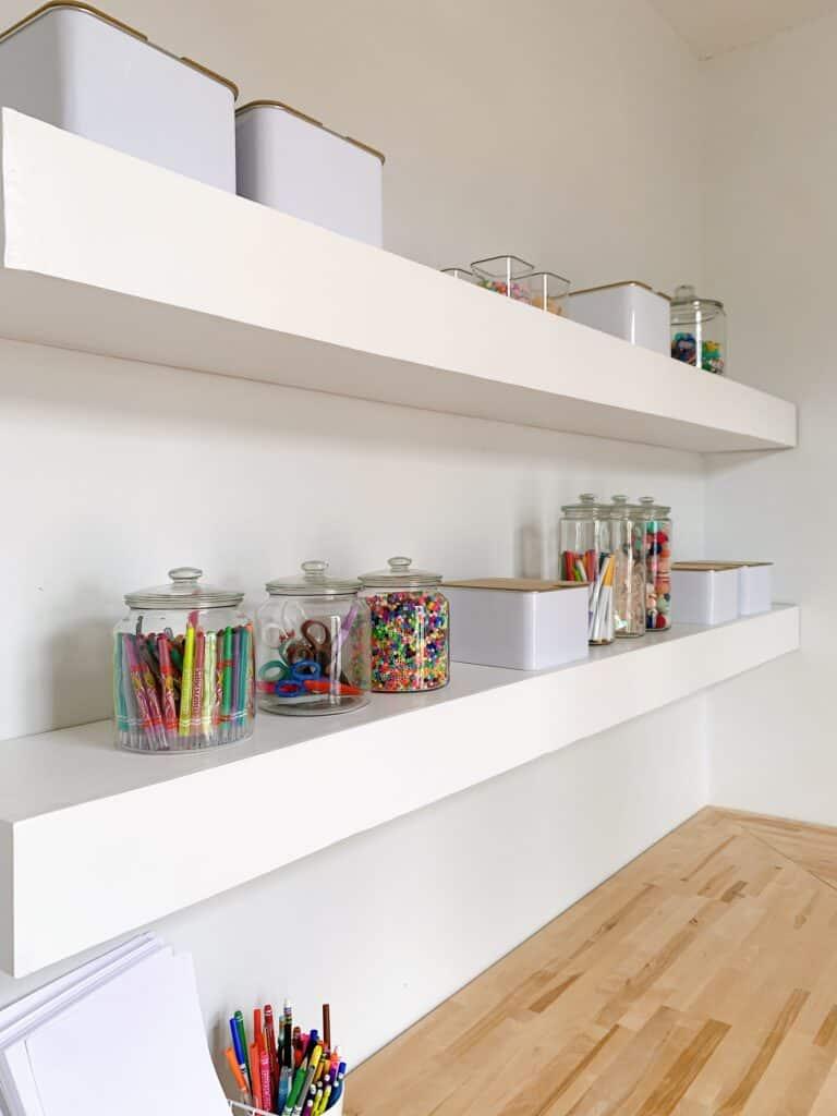 large shelves in craft room