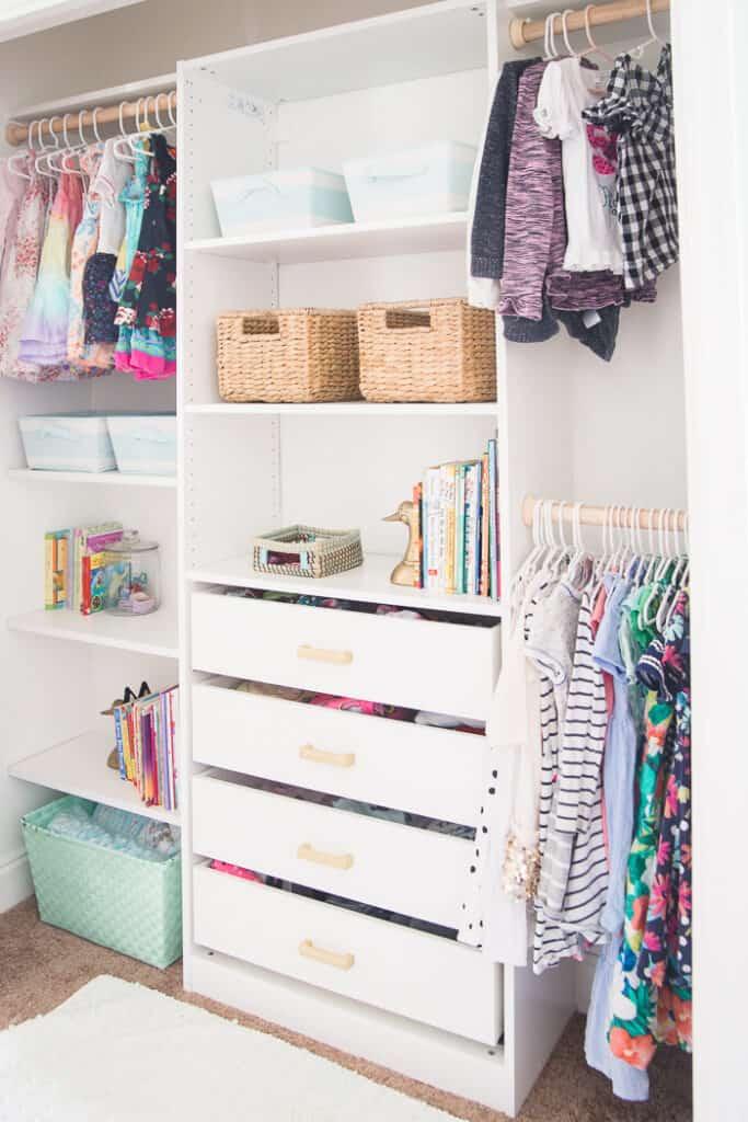 Organized gorgeous kids closet space