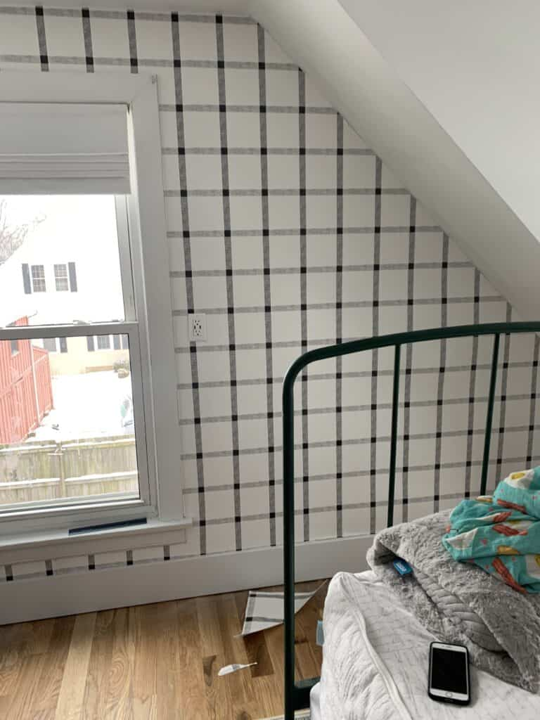 wall of black and white wallpaper in progress