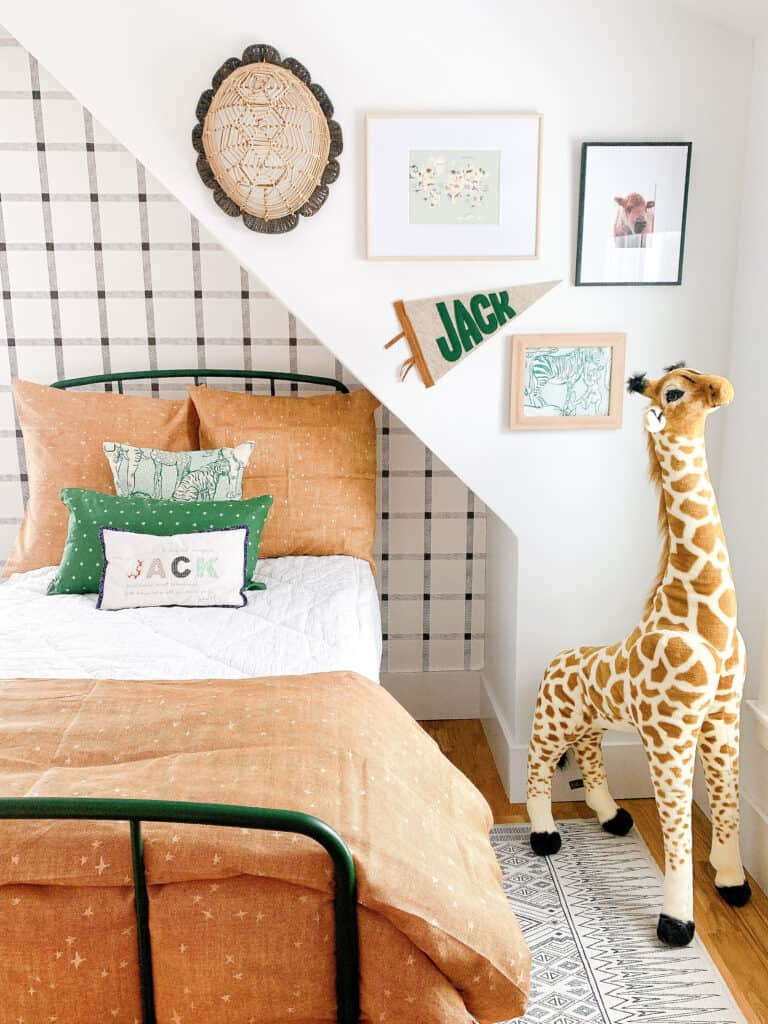 gallery wall in young boys room