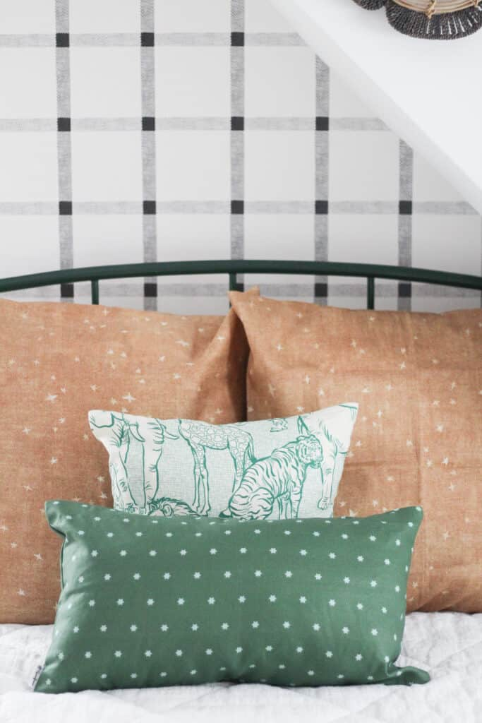 green and cognac bedding