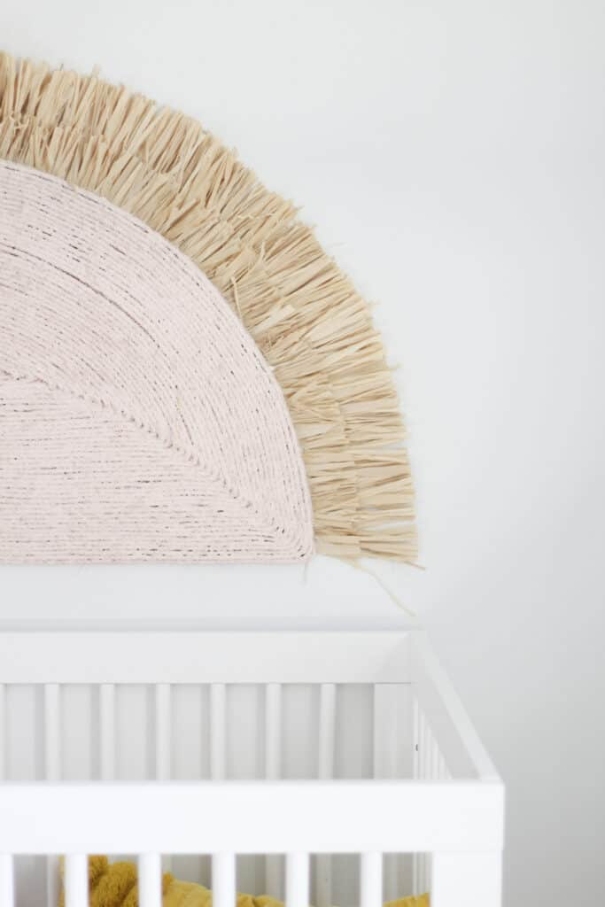 pink and grass wall hanging rainbow