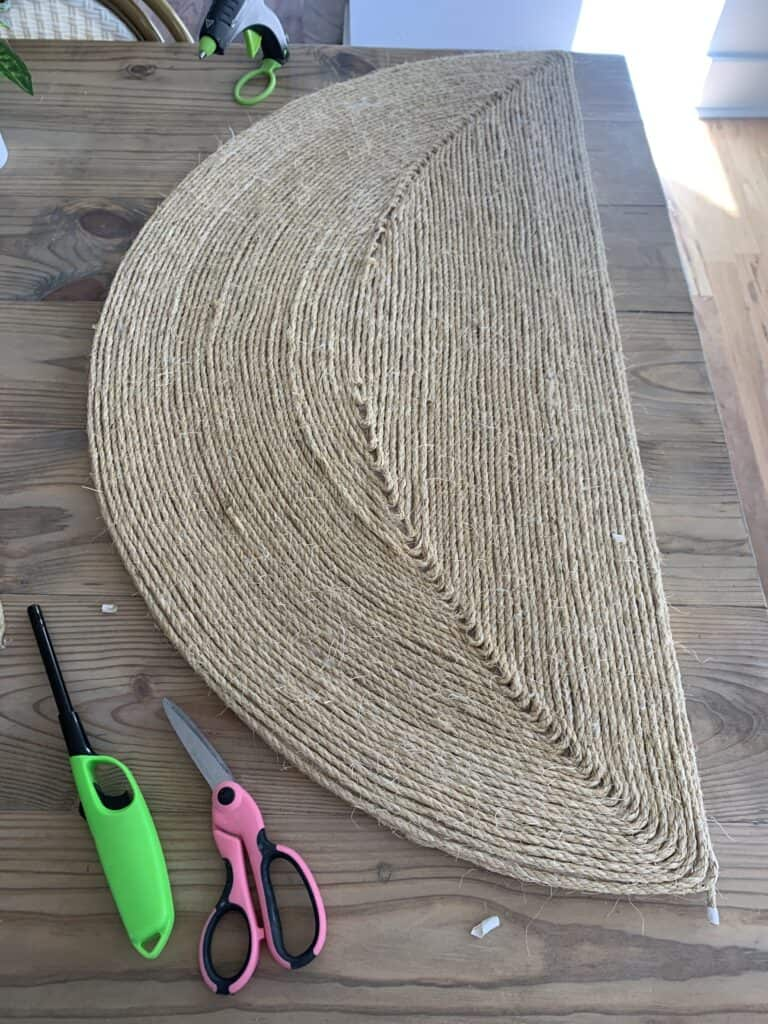 half circle covered with sisal rope