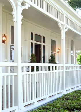 white wood front porch