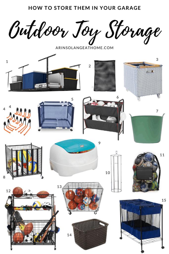 Outdoor toy storage ideas in the garage