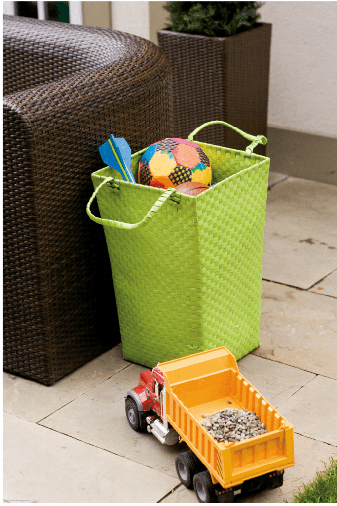 green outdoor toy basket
