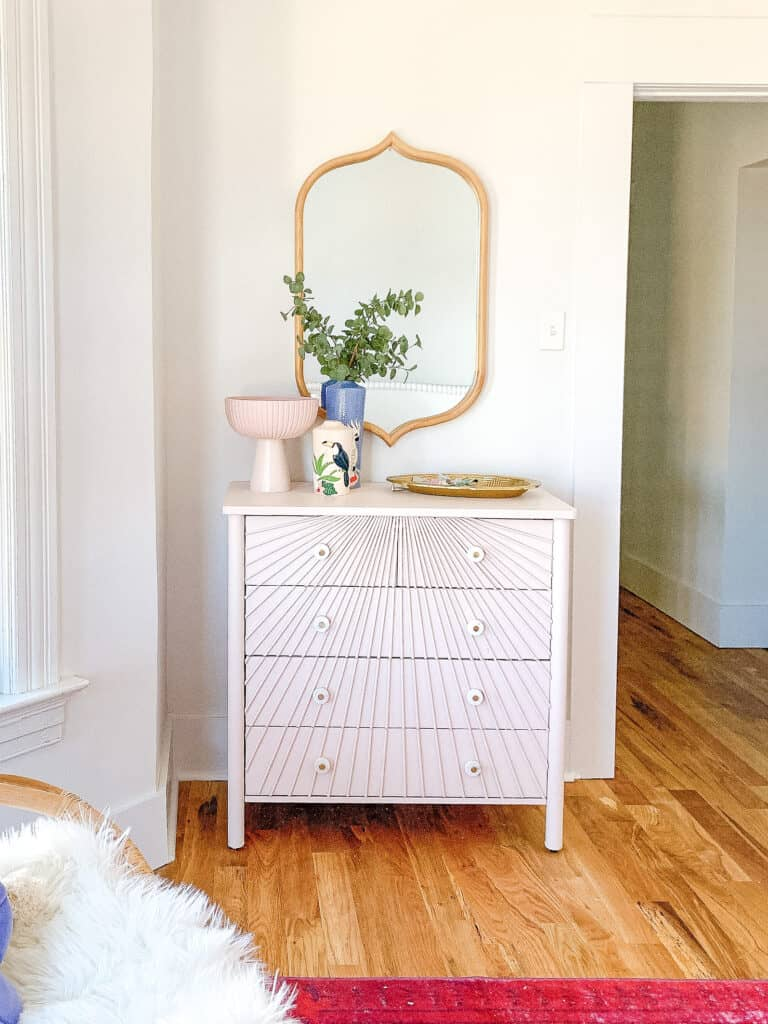 Pink Sunburst dresser done with wood dowels