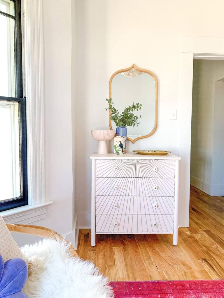 DIY pink wood dowel Dresser