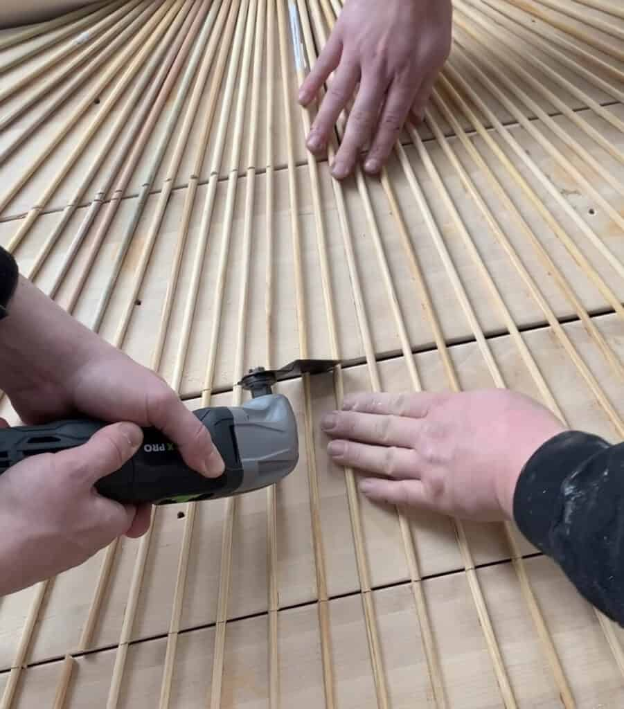 cutting dowels with a multi tool