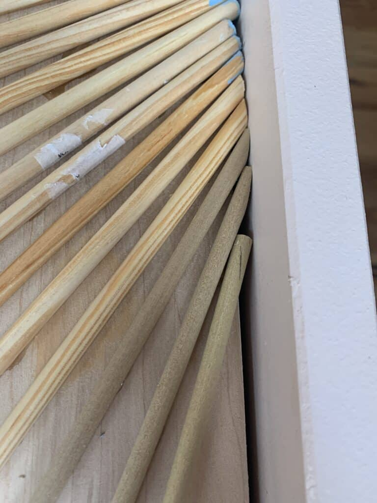 wood dowels cut with trim scissors
