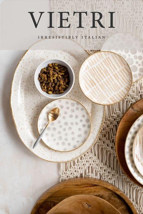 vietri plates on macrame table runner