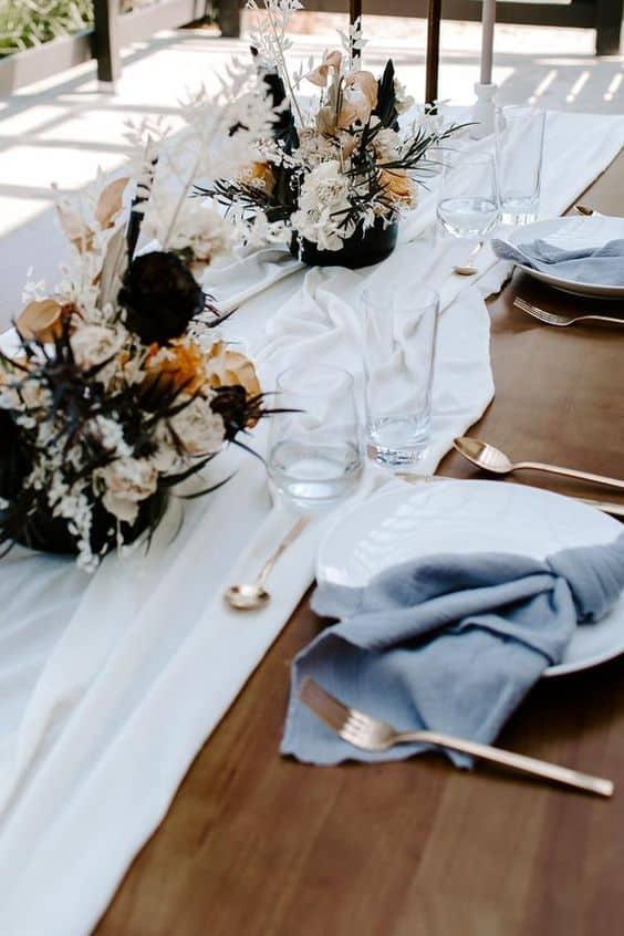 best round table runner ideas - white table runner over wood table