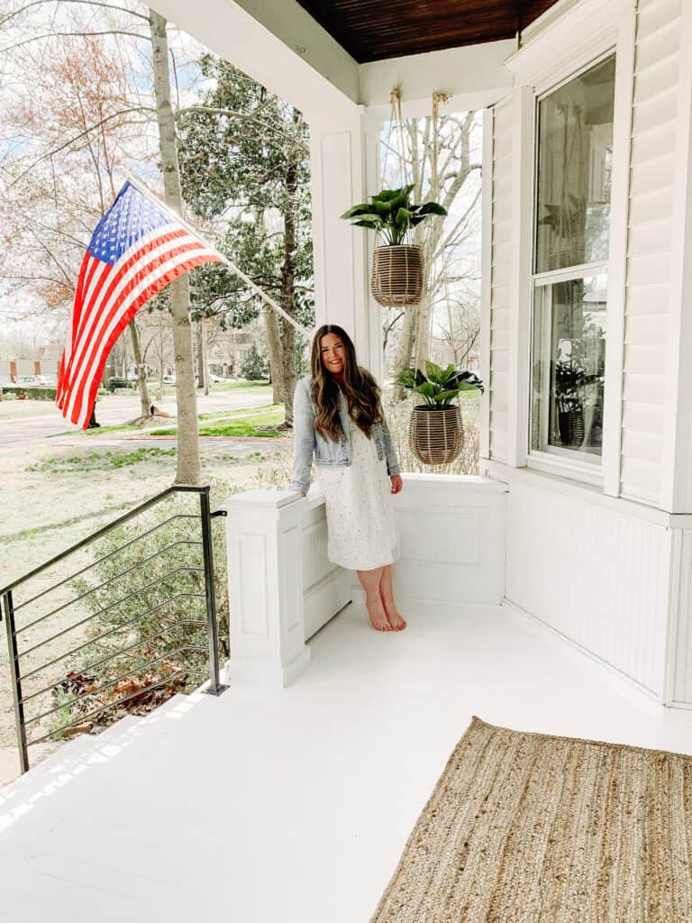woman on her front porch