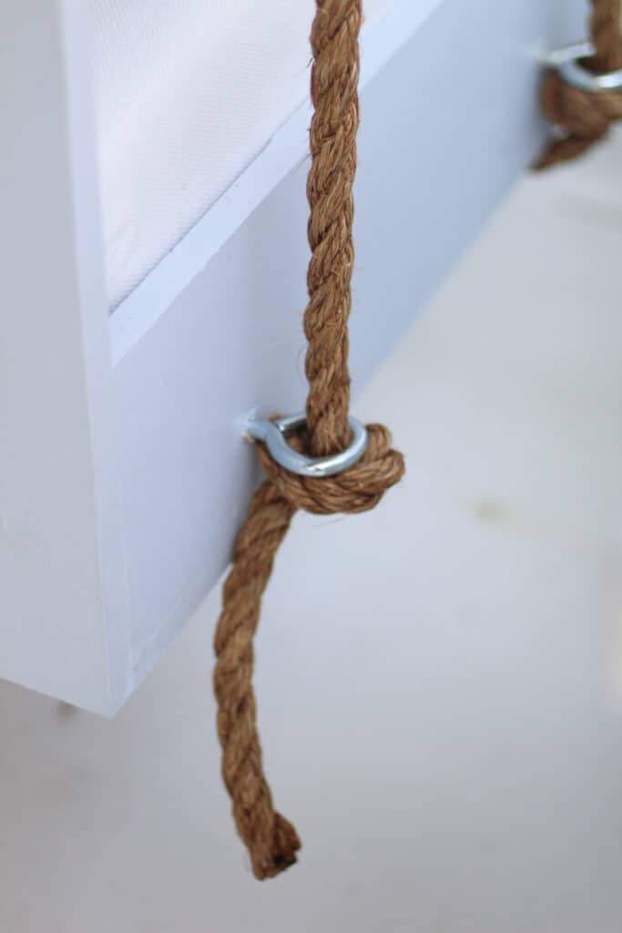 eye bolts in the side of porch swing