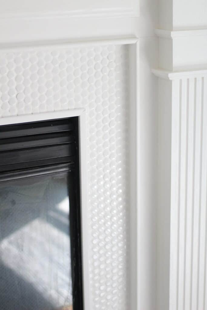 edging added to tile fireplace