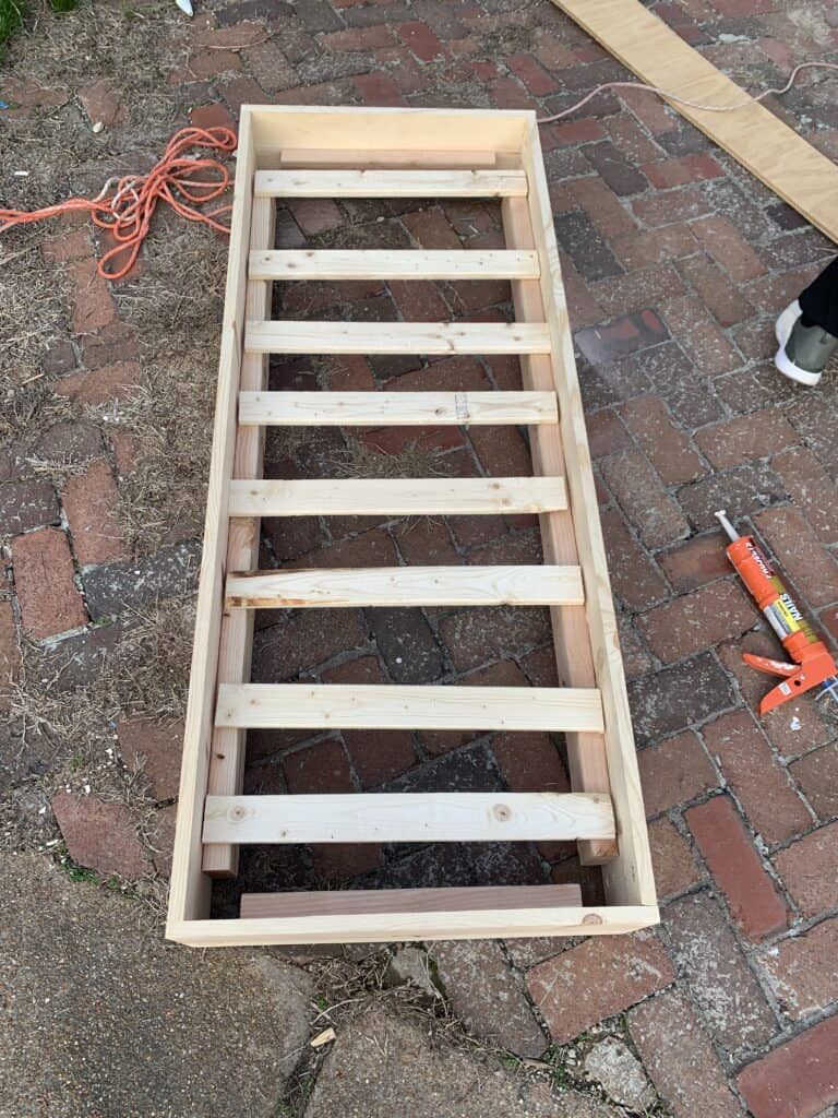 slats added to DIY Porch swing