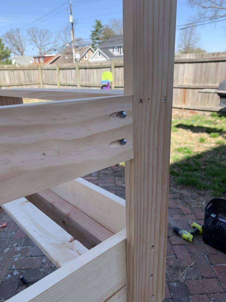 attaching the back boards with pocket holes
